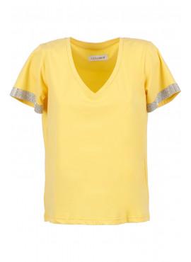 T-Shirt Cafè Noir jt6490 donna bordura strass gialla