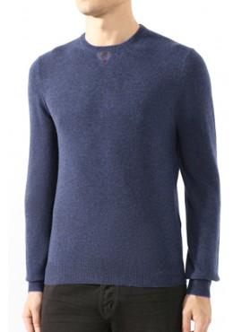 Maglione Gran Sasso 19612 55111 blu con toppe lana AI19