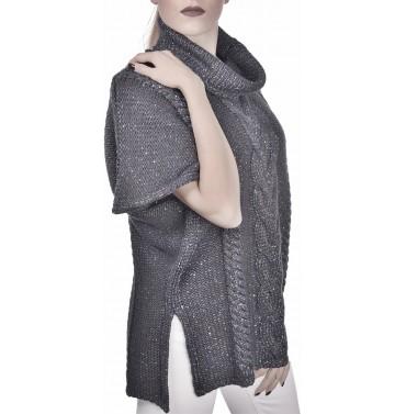 Poncho Gran Sasso donna 15210 32110 a trecce mix lana grey AI19